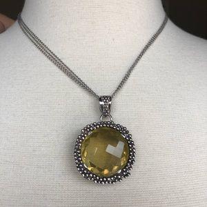 Citrine pendant in triple chain sterling  925